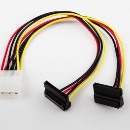 SATA Power Y Cable 2 x Right Angle 15p to AT 4p Male