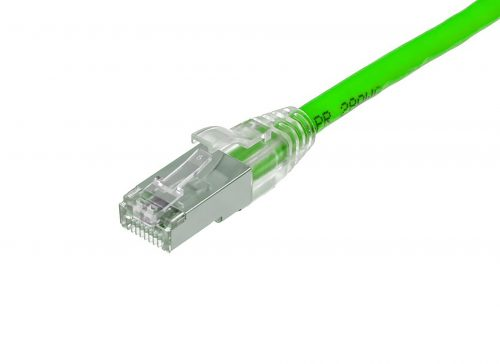 CAT6A 28AWG 10G Cable – FlexLite™ SFTP OD 5.4mm 600MHZ Soft PVC Shrek Green Connector