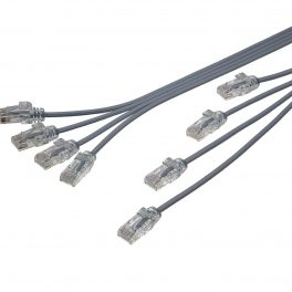 "CAT6 28AWG Ribbon x4 Step Length (1.75"") Cable – FlexLite™ UTP OD 3.8mm Soft PVC Grey"