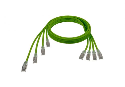 """CAT6A 28AWG Ribbon x4 Step Length (1.75"""") 10G Cable – FlexLite™ UFTP OD 5.2mm 550MHZ Soft PVC Shrek Green Cable"""