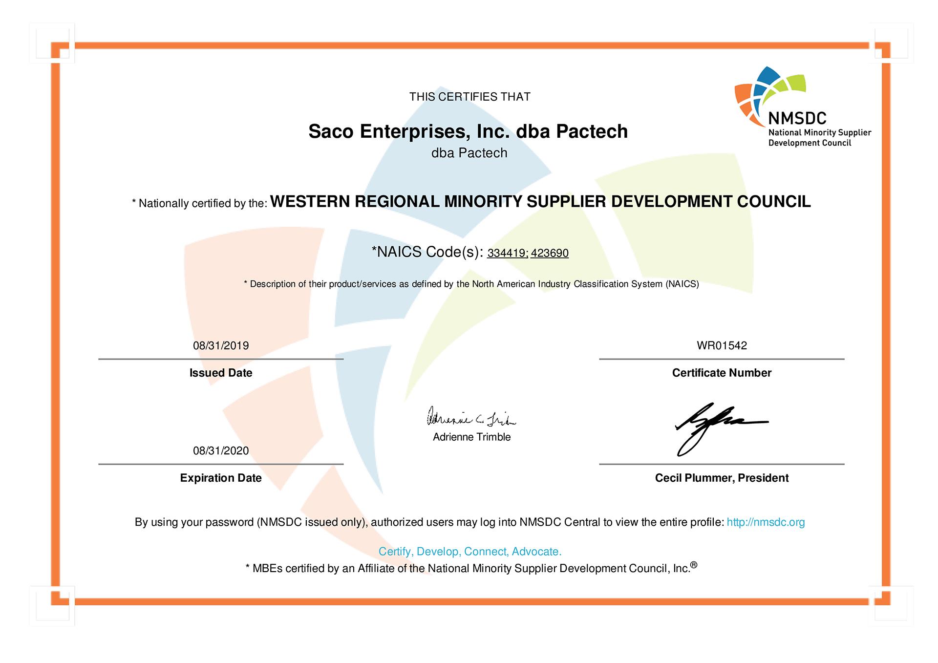 2019 - 2020 WRMSDC Certificate - Saco Enterprises, Inc. dba Pactech